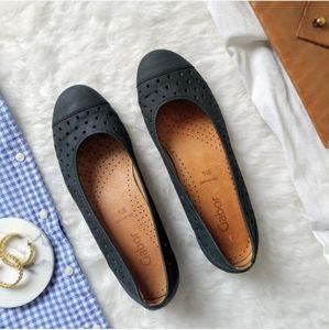 GABOR Navy Blue Leather Ballet Flats